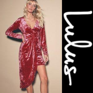 Lulus Velvet Long Sleeve Asymmetrical Dress